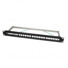 TOE 1U keystone panel 24-port Zwart LogiLink