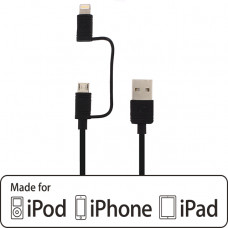 Mobilize 2in1 Charge/Sync Cable Apple MFi Lightning/Micro USB 1.5m. Black