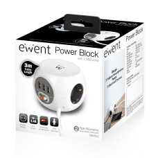 Ewent EW3953 power extension 3 m 3 AC outlet(s) Indoor White