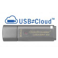 Kingston Technology DataTraveler Locker+ G3 64GB 64GB USB 3.0 (3.1 Gen 1) USB-Type-A-aansluiting Zilver USB flash drive