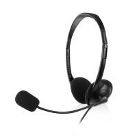 Ewent EW3567 Hoofdband Stereofonisch Bedraad Zwart mobielehoofdtelefoon