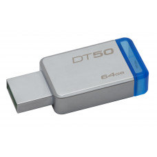 Kingston Technology DataTraveler 50 64GB 64GB USB 3.0 (3.1 Gen 1) USB-Type-A-aansluiting Blauw, Zilver USB flash drive