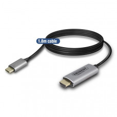 Eminent AB7874 1.8m USB C HDMI Type A (Standard) Zwart, Grijs video kabel adapter
