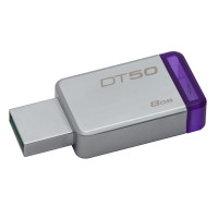 Kingston Technology DataTraveler 50 8GB USB flash drive 3.0 (3.1 Gen 1) USB-Type-A-aansluiting Paars, Zilver