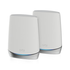 Netgear Orbi WiFi6 wireless router Gigabit Ethernet Tri-band (2.4 GHz / 5 GHz / 5 GHz) Stainless steel, White