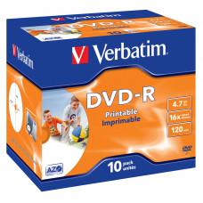 Verbatim DVD-R Wide Inkjet Printable ID Brand 4.7GB DVD-R 10stuk(s)